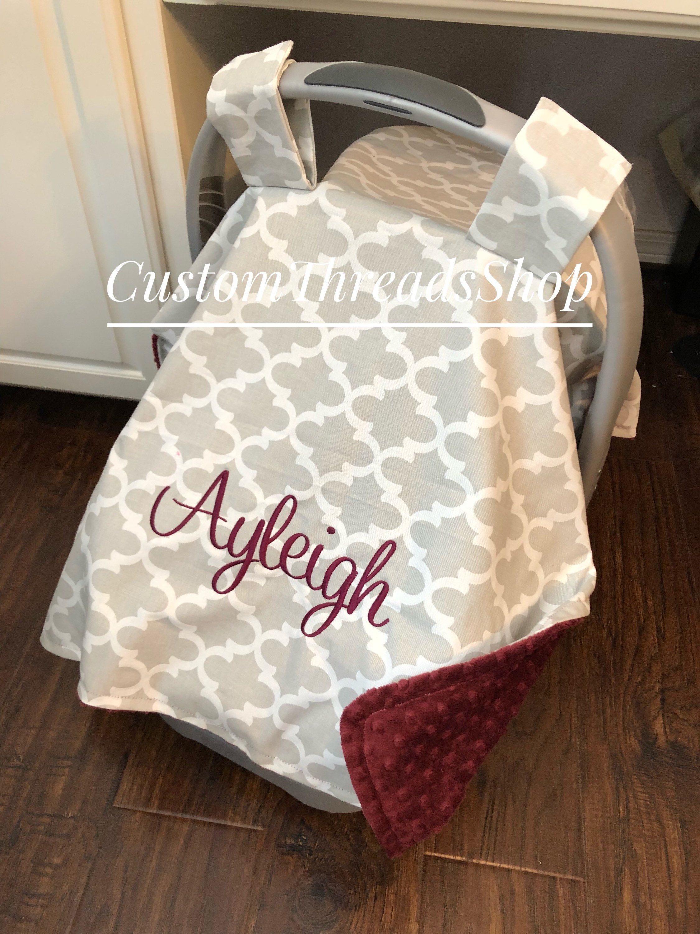 Personalized Carseat Canopy Boy Baby Shower Gift Car Seat Blanket Cover