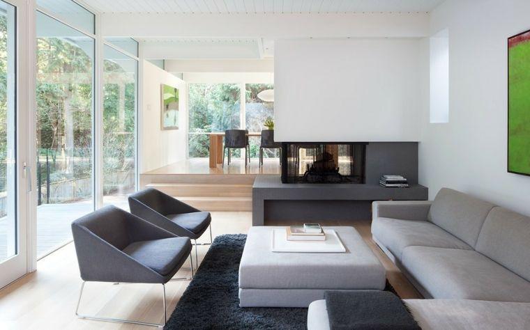 Salotti moderni e un 39 idea di arredamento con divano grigio for Living con camino