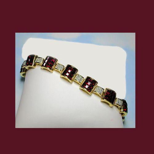 Let's Get Vintage - Bracelets - Vintage dynamic ruby red and faux diamond bracelet. UNSIGNED - Vintage Costume Jewelry