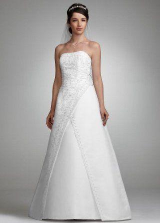 Embroydery David's Bridal Wedding Dresses with Train