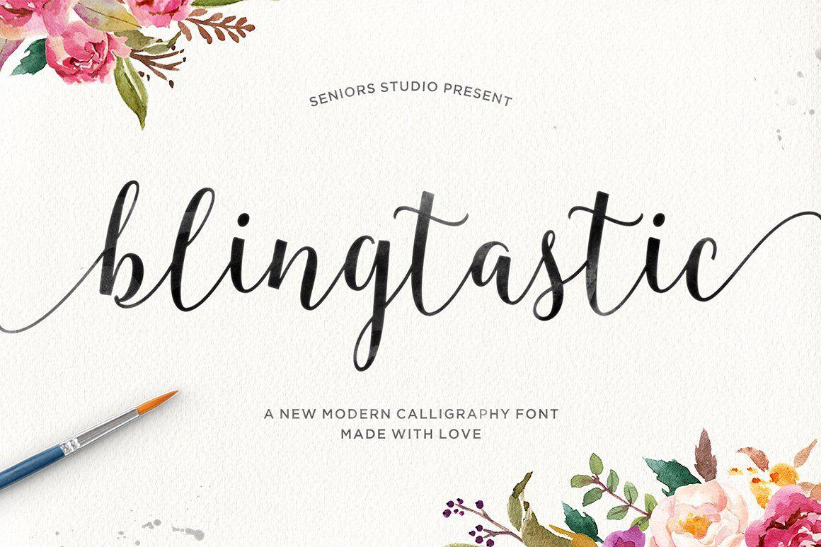 Blingtastic Script Fancy fonts, Calligraphy fonts