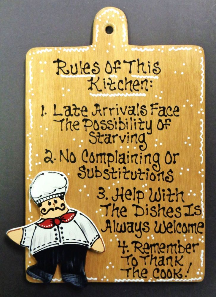Fat Chef Rules Of Kitchen No Late Arrivals Help With Dishes Sign Wall Plaque Unbranded
