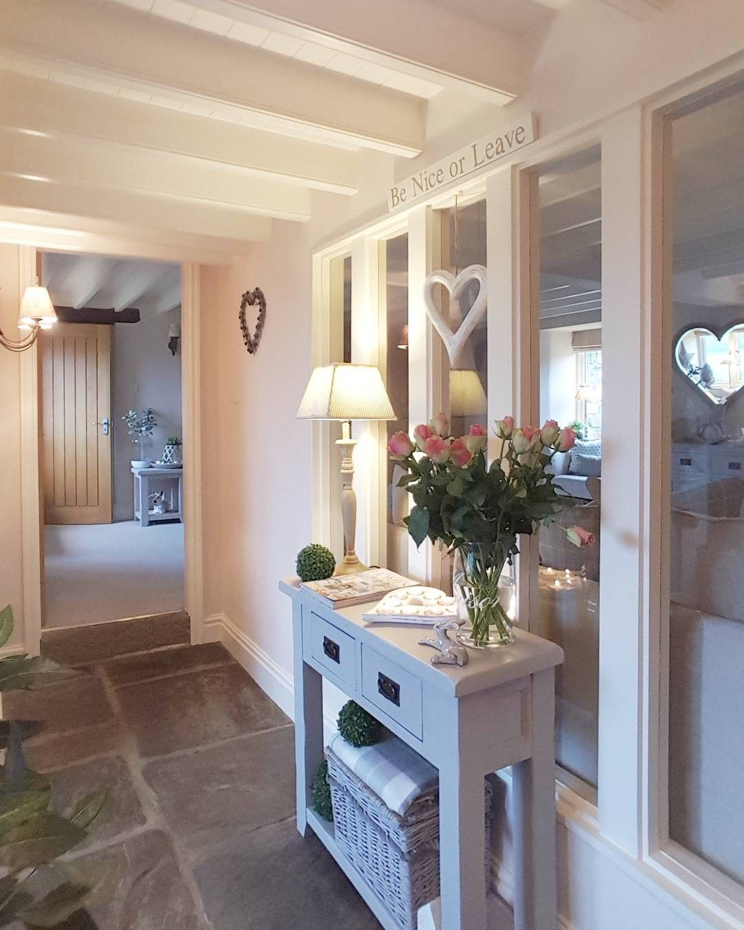 Grey console in the hallway country styling to for Country hallway ideas