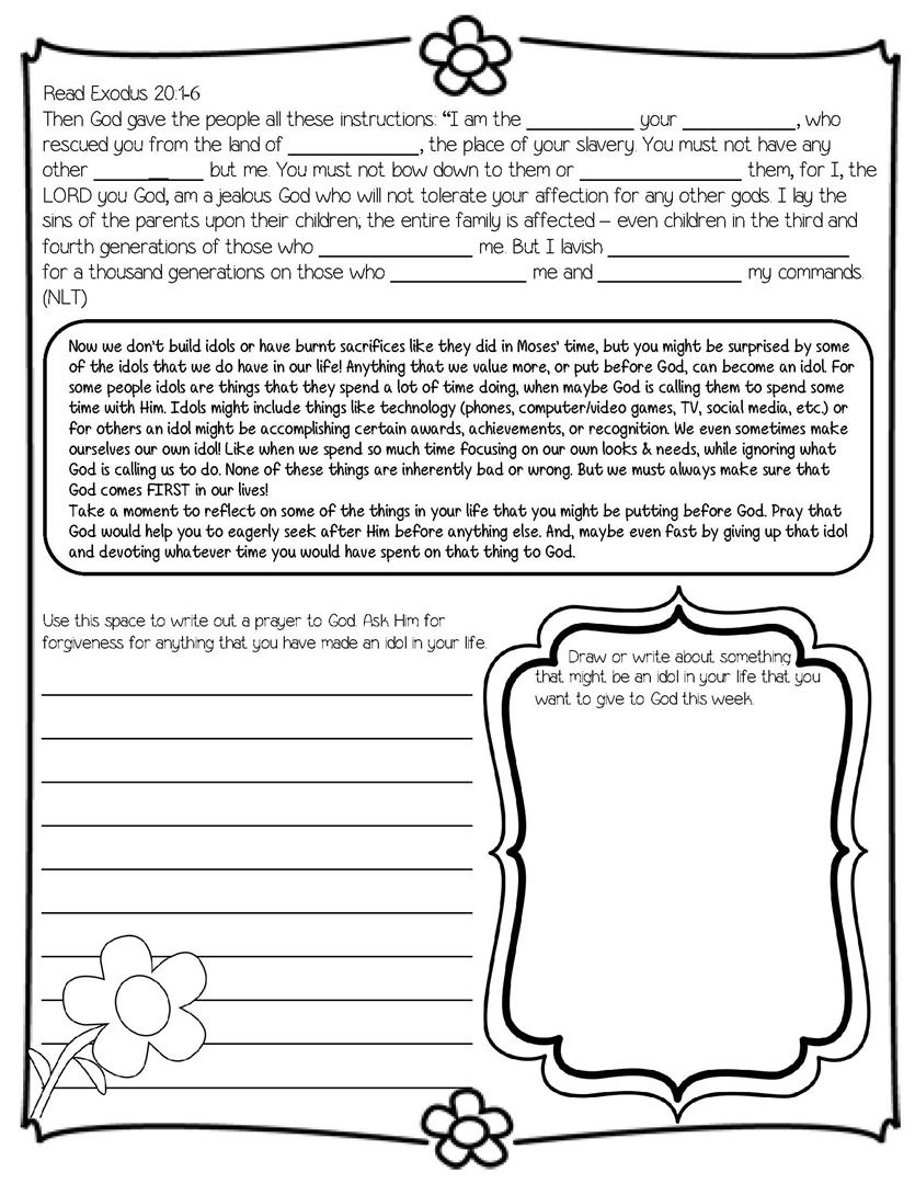 Worksheets Children Bible Study Worksheets daily devotional on the ten commandments ideal for 4th 8th coloring pages all about kids free printable 101 colorin