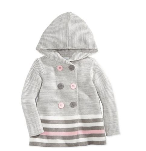 b2ee5b7dc Hooded-Cardigan-3-6-9-12-18-24-Months-Baby-Girl-Clothes-Gray-Sweater ...
