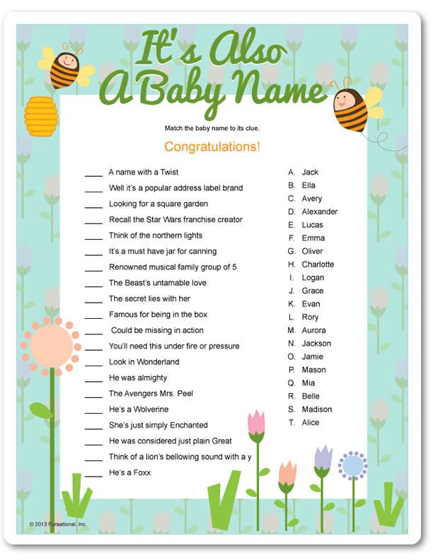 Printable It S Also A Baby Name Funsational Baby