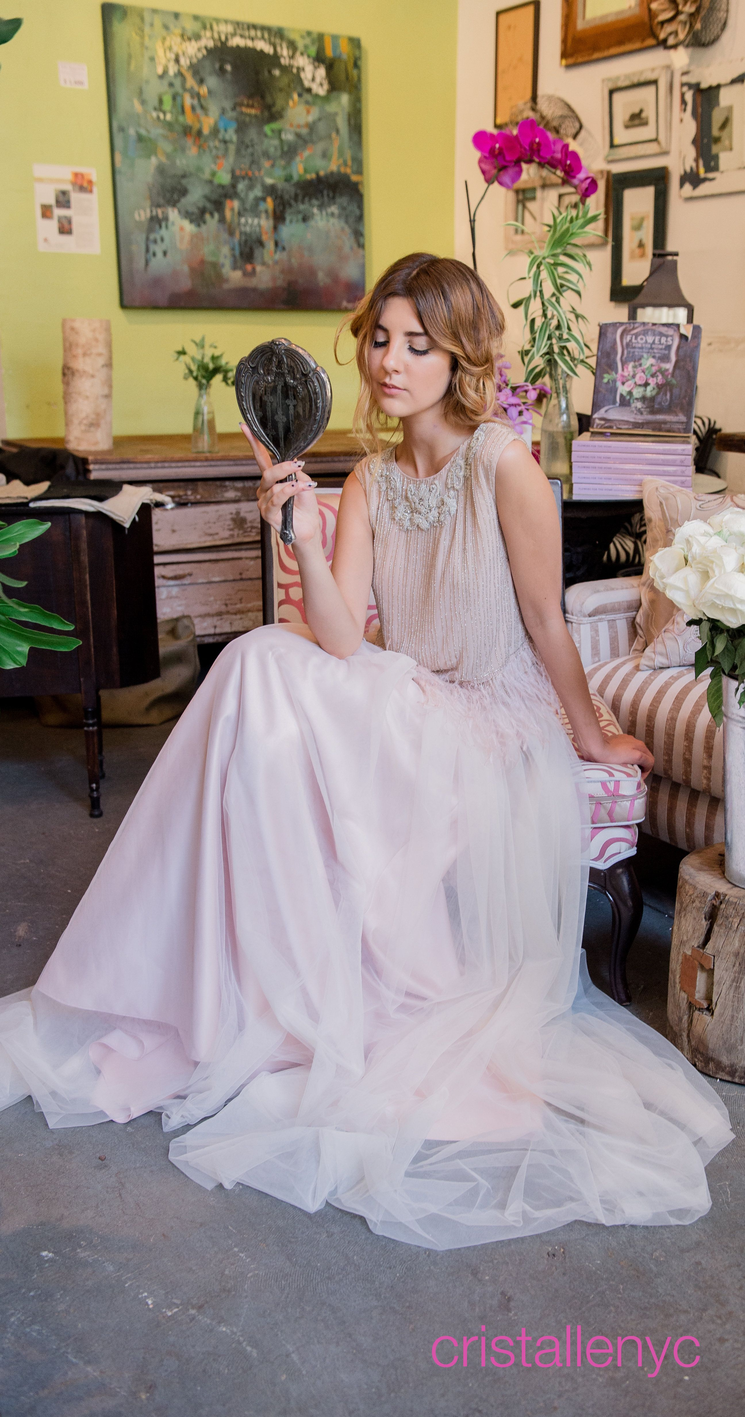 Great gatsby inspired wedding dresses  Cristalle feathered top over tulle skirt  cristalle nyc brides