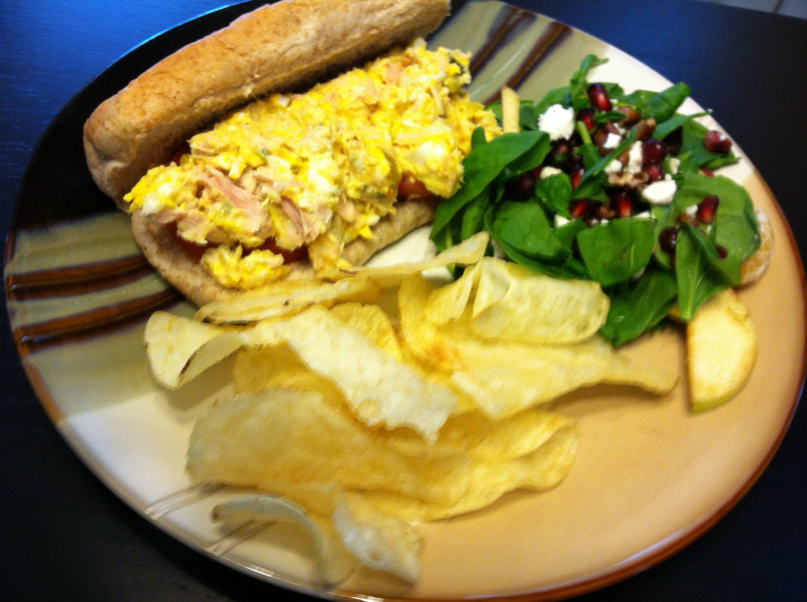 Day 3 - tuna salad on mini sub bun, with chips and letover salad from Day 1; the tuna is so yellow because I used hard boiled farm fresh eggs from my son's friend who is raising his own chickens