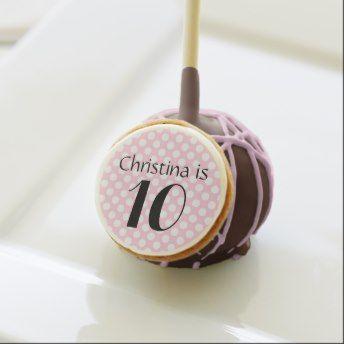 Custom Girls Birthday Pink Polka Dot Name Age Cake Pops Send Or Order Personalized Cakepops