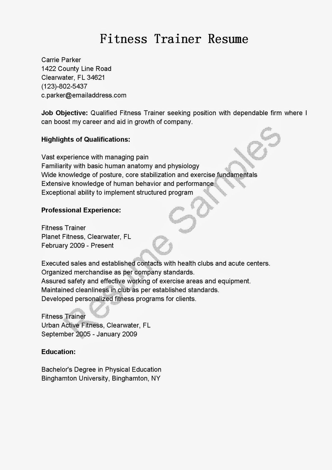 Resume Samples Fitness Trainer Resume Sample Inspiration Sports