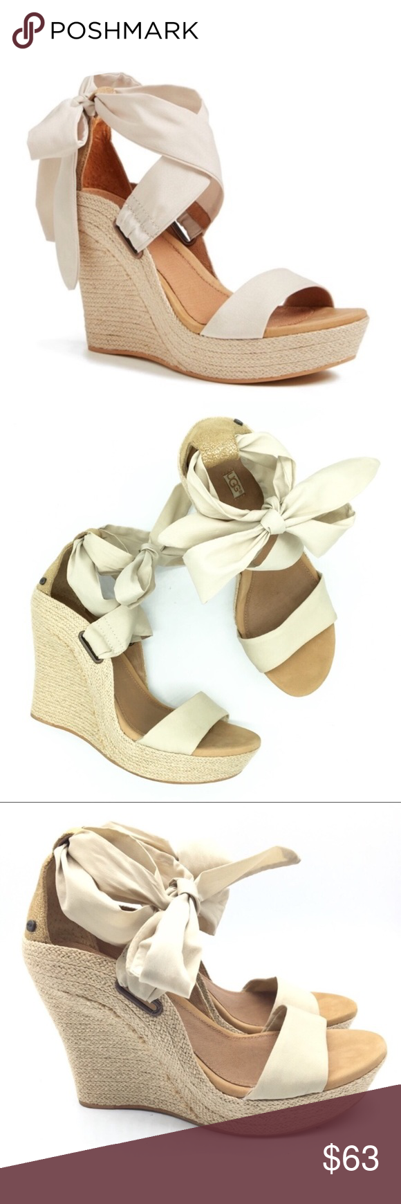 08a4fd8f741 Ugg Jules Platform Espadrille Wedge Sandal Sz 8 Ugg Jules Platform  Espadrille Wedge Sandal w  ankle tie Size 8. Fits true to size The perfect  nude color ...