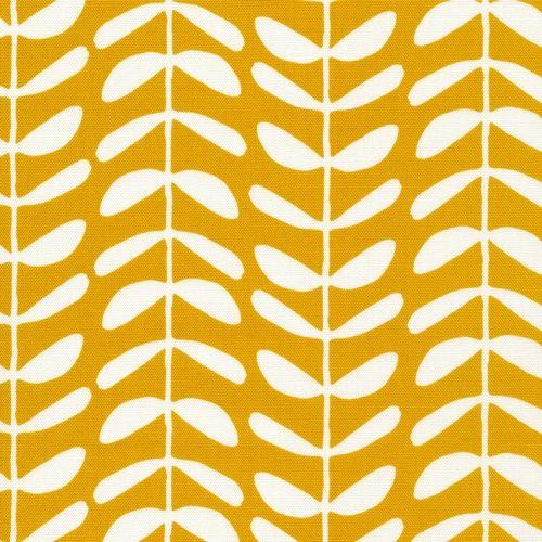 Cloud9 Fabrics Yoyogi Park Feather Leaf Teal Organic Cotton Fabric