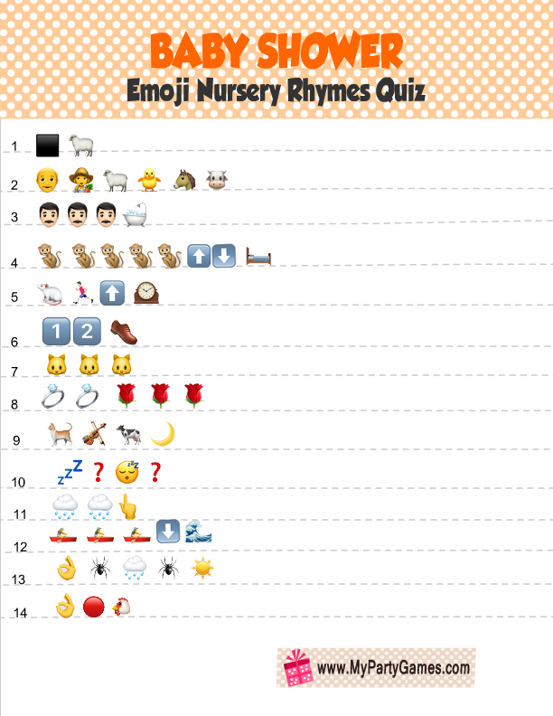 Free Printable Baby Shower Emoji Quiz In Orange Color Free Baby Shower Printables Free Printable Baby Shower Games Nursery Rhyme Baby Shower
