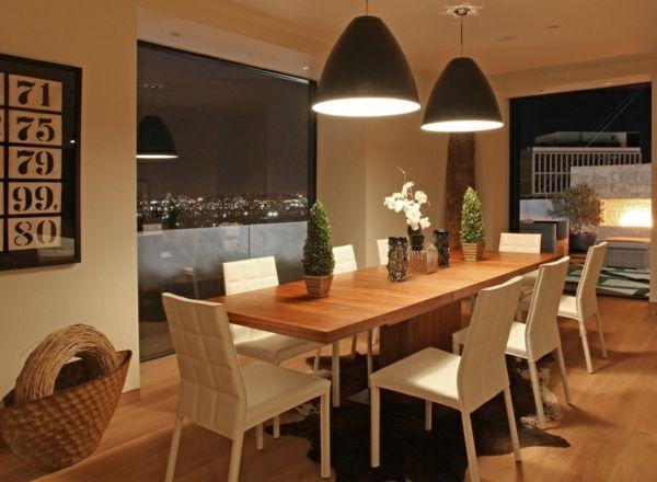 Esszimmer Beleuchtung Ideen Laminat Boden Modern Weiß