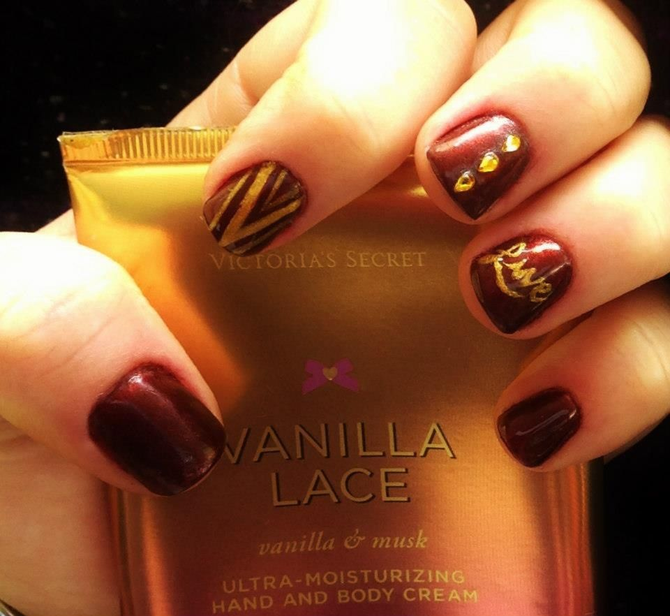 Acrylic layover. Burgundy and gold nails. | Nail Art and Designs for ...