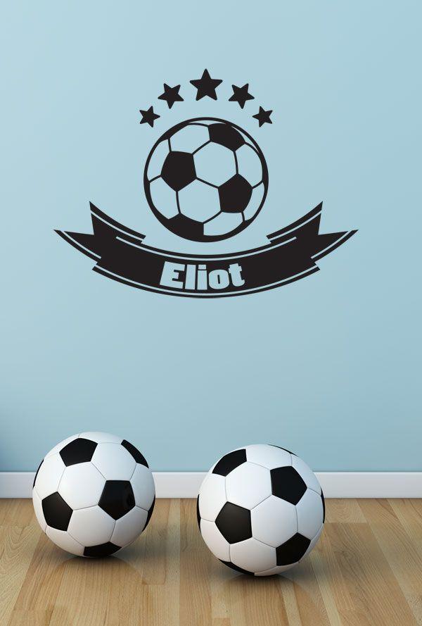 Football shirt Garçon personnalisé Nom Autocollant Mural Football Garçon Chambre à coucher RUI283