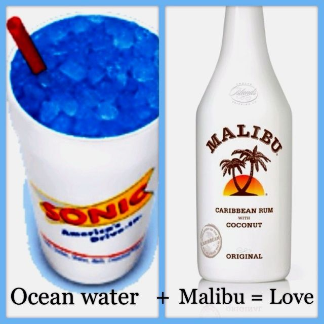 If You Re Over 21 And Near A Sonic Try This Now Get An Ocean Water Sprite With Blue Coconut And Add Then Add Mal Malibu Drinks Alcoholic Drinks Rum Drinks