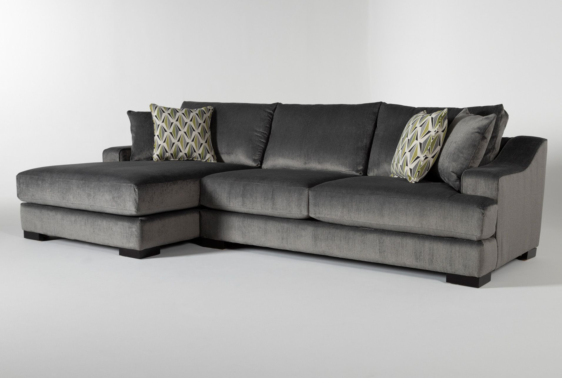 Lodge Charcoal 2 Piece 139 Sectional With Left Arm Facing Chaise Sectional Chaise Double Chaise Sofa