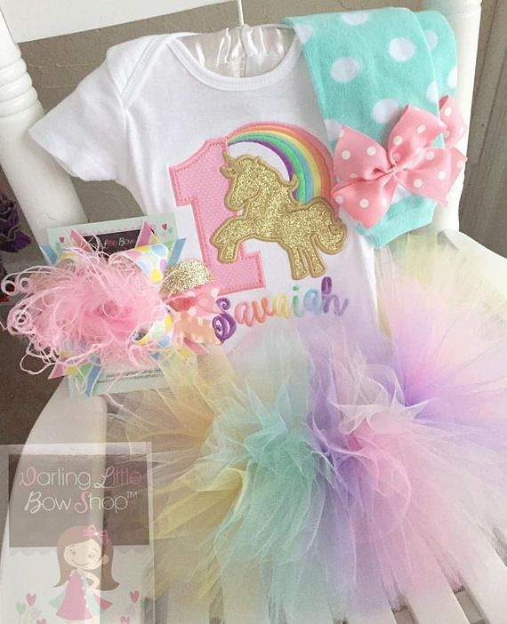c415381b ::Unicorn birthday shirt or bodysuit in pastel rainbow. The glittery gold  unicorn is stunning! ::This listing includes: -bodysuit or shirt with name  (leave ...