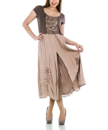 Another great find on #zulily! Brown Lace Linen-Blend Scoop Neck Dress - Plus #zulilyfinds