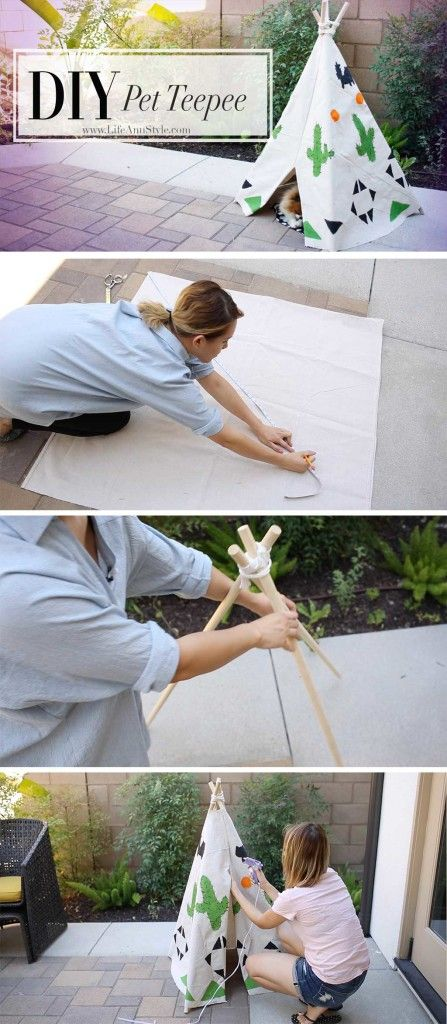 Lifeannstyle learn how to make this cute diy doggie pet for Diy cat teepee