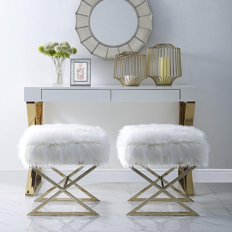 Best Amazon Com Aurora White Faux Fur Ottoman Stainless 400 x 300