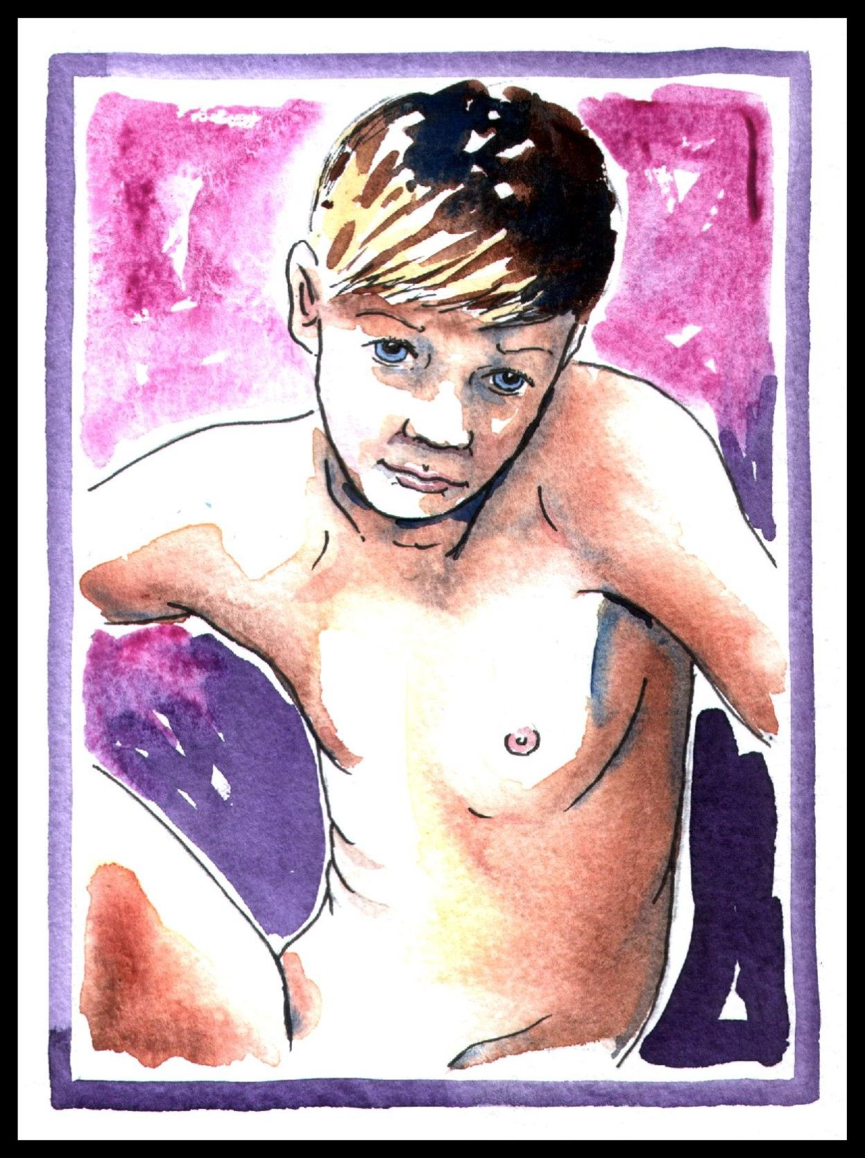 SELF PORTRAIT: The artist as a child.   15 minute watercolour sketch by Lidbury 2004.    Police raided the gay artist's home & attempted to prosecute the artist & failed.   Police had to admit in court & an IPCC enquiry that there were NO illegal images.    According to a Home Office report in 2005 Homophobia was an endemic problem within UK police.