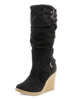 Buckled Rubber-Wedge Boots from Charlotte Russe