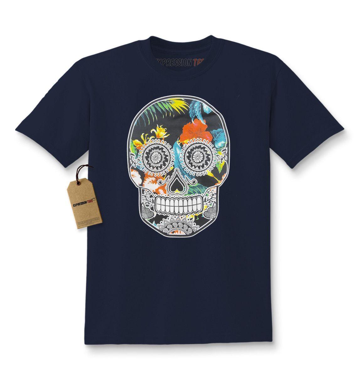 Sugar Skull Floral Print Dia De Los Muertos Kids T-shirt