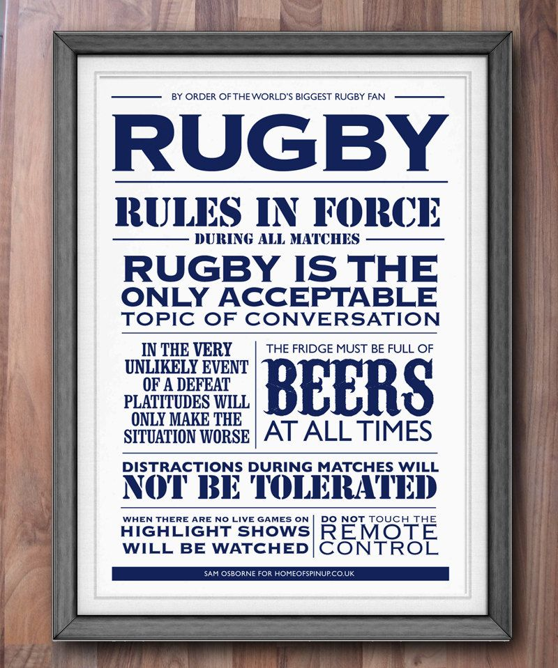 Rugby Print House Rules Typographic Sports Poster Art Via Etsy Rugby Rules Rugby Quotes Rugby Memes