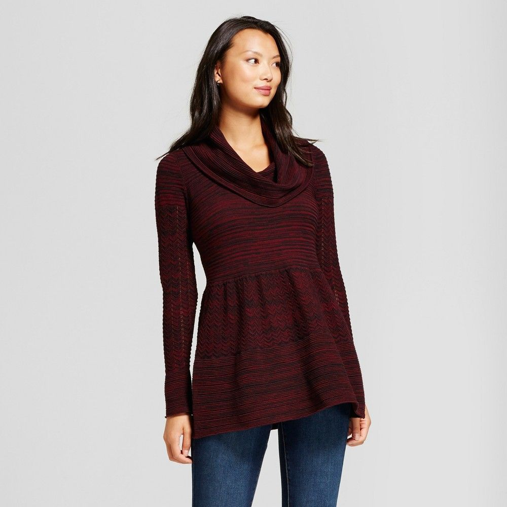 Women's Cowlneck Marled Tunic Sweater - Heather B Black/Olive S ...