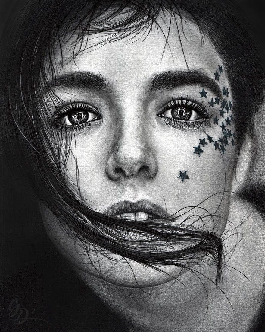 Black and white realistic pencil portrait drawings pencil
