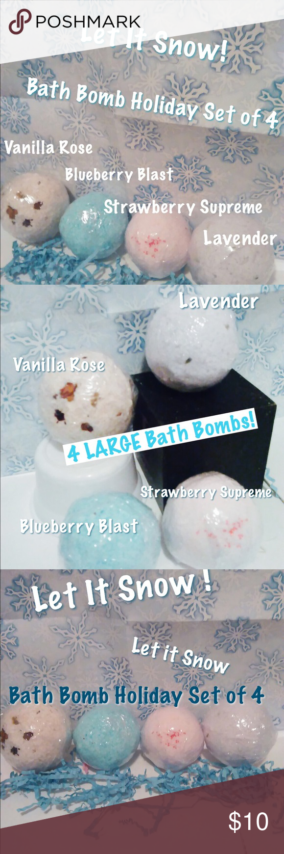 Let it Snow! holiday bath bomb set of 4 Let it Snow. Holiday Bath Bomb Set of 4. 4 large bath bombs 5 oz each. Size of a tennis ball! Blueberry blast, strawberry supreme, lavender and vanilla rose. Drop in bath for soft smooth skin. Handmade with special combination of skin nourishing oils to restore moisture and softness to dry skin. Makes a beautiful holiday gift. #bathbombs#bathtime#makeup#skincare#pink#holidaygifts#handmade#shower#dryskin Makeup