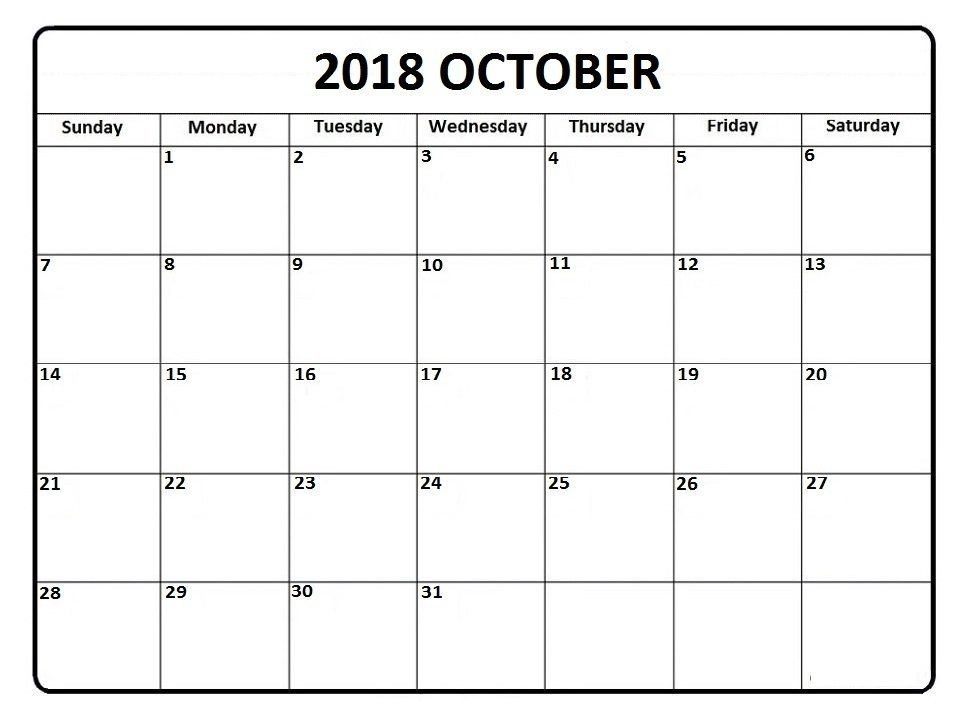 photograph about Free Printable Calendars October referred to as Printable Calendar Oct 2018 Oct 2018 Calendar
