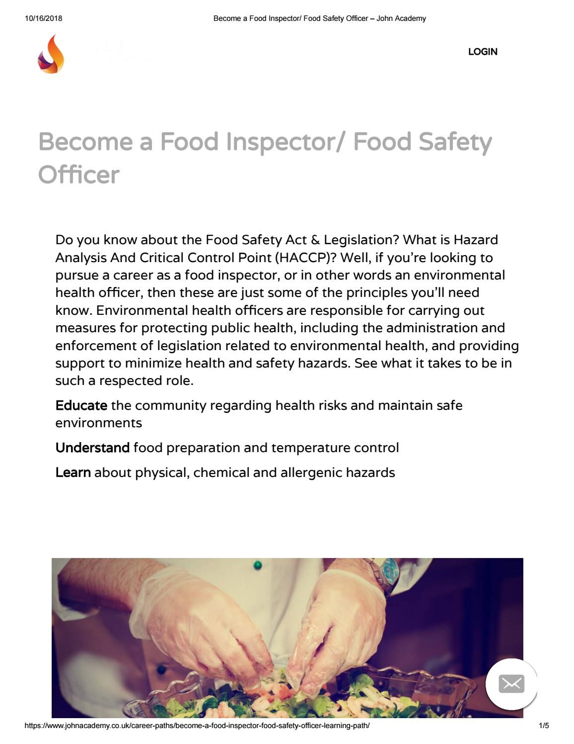 a Food Inspector/ Food Safety Officer course John