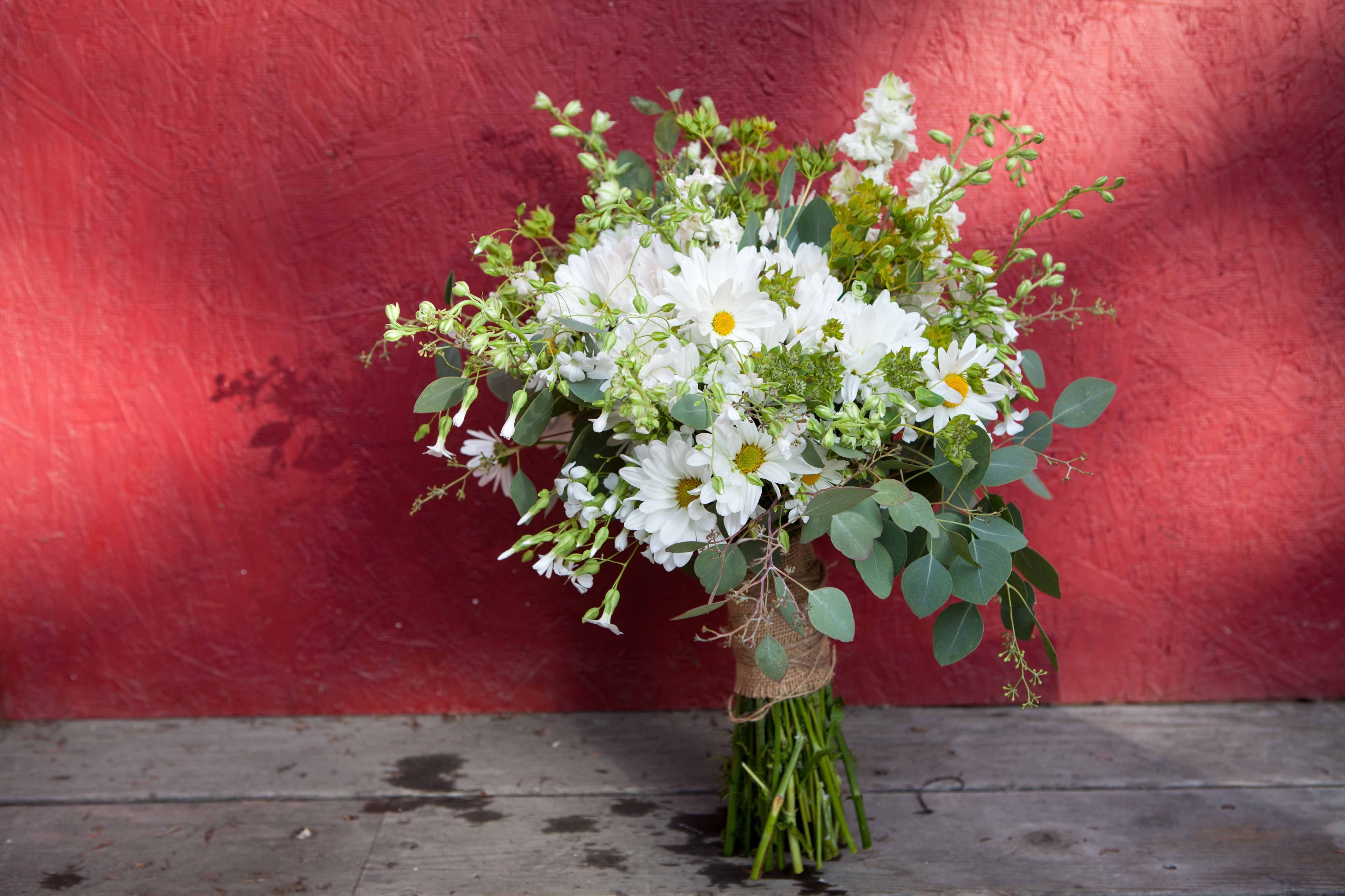 Wild Bridal Bouquet With Daisies And Larkspur Designed By Natasha