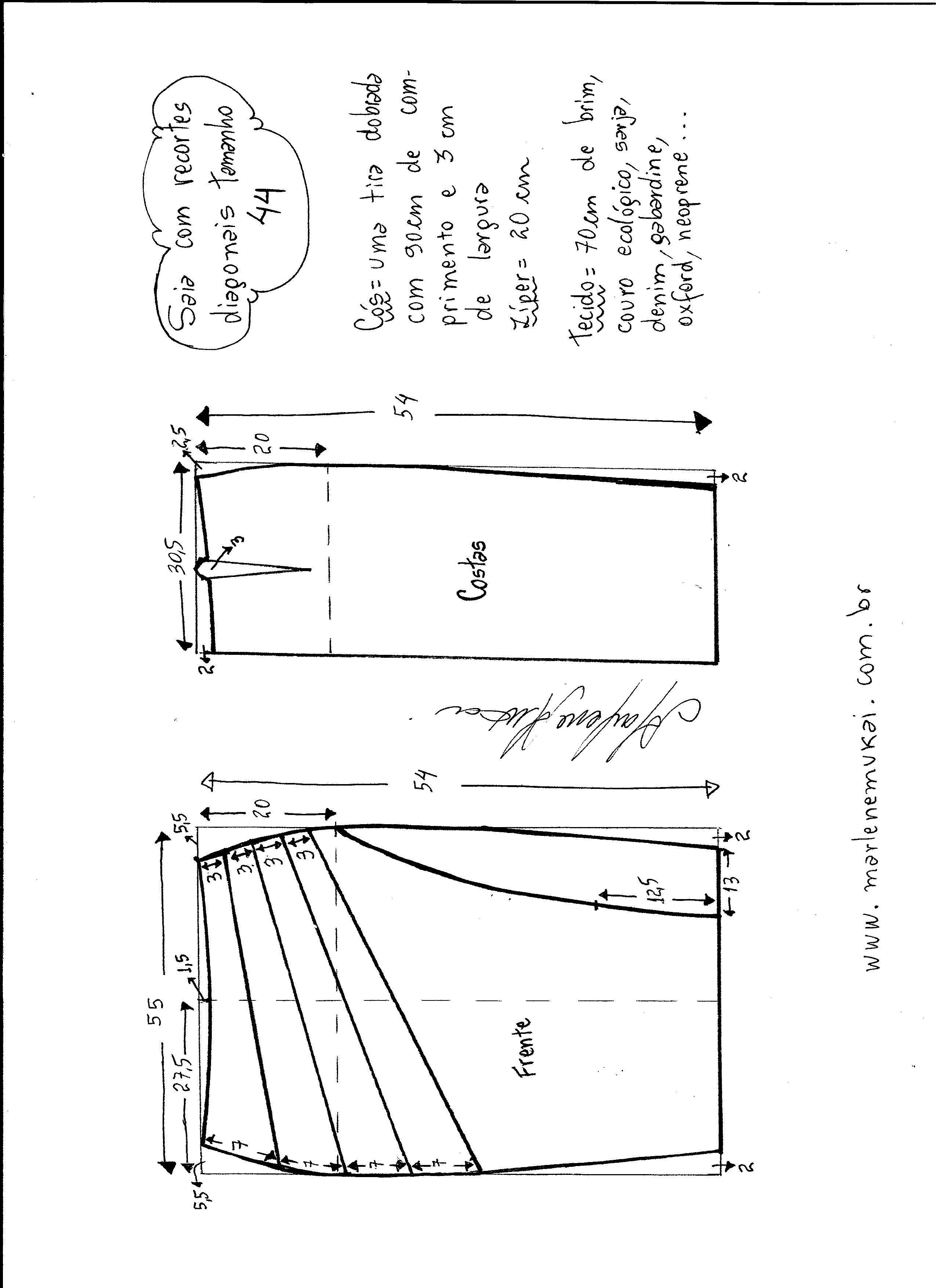 Patrón de Falda modelo clásico con corte diagonal   moldes vestidos ...