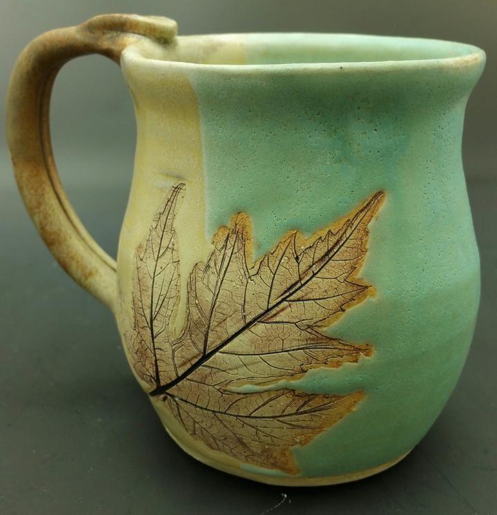 Earthtone Maple Leaf Hand Thrown Ceramic Mug