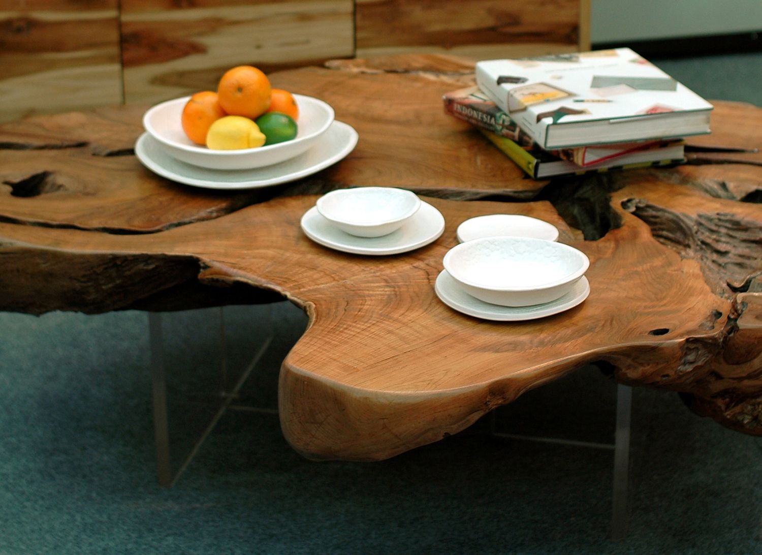 Salvaged Teak Root Coffee Table Slab from Bali, with Lucite Table Bases.  Custom Design