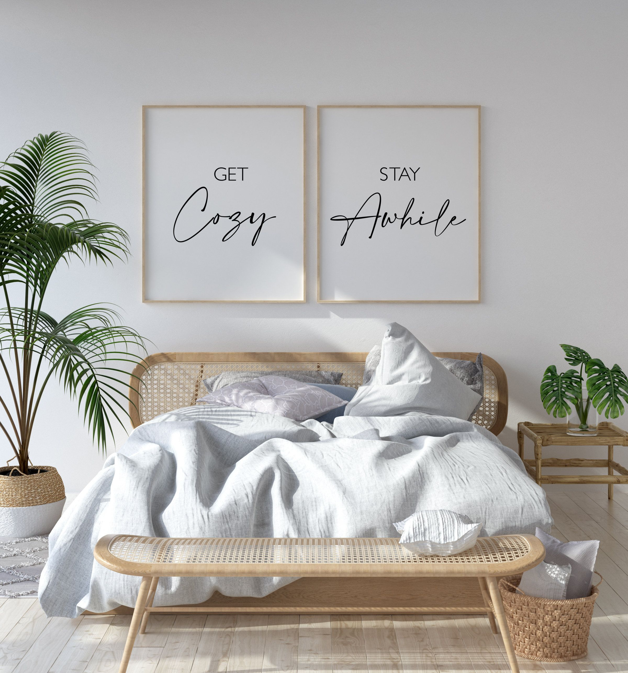 Guest Room Prints, Get Cozy, Stay Awhile Wall Art, Set of Prints Wall Art, Guest Room Quote Print, Guest Bedroom Signs, Stay Awhile Sign