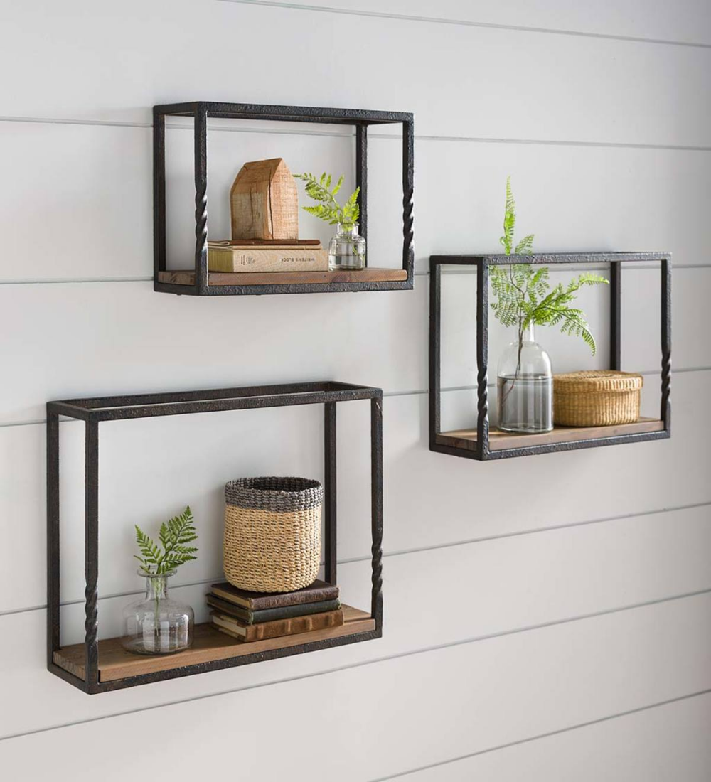 Deep Creek Set Of 3 Wall Shelves Show Off Your Favorite Decorative Items Pictures Or Plants Metal Wall Shelves Wood Wall Shelf Wall Shelves