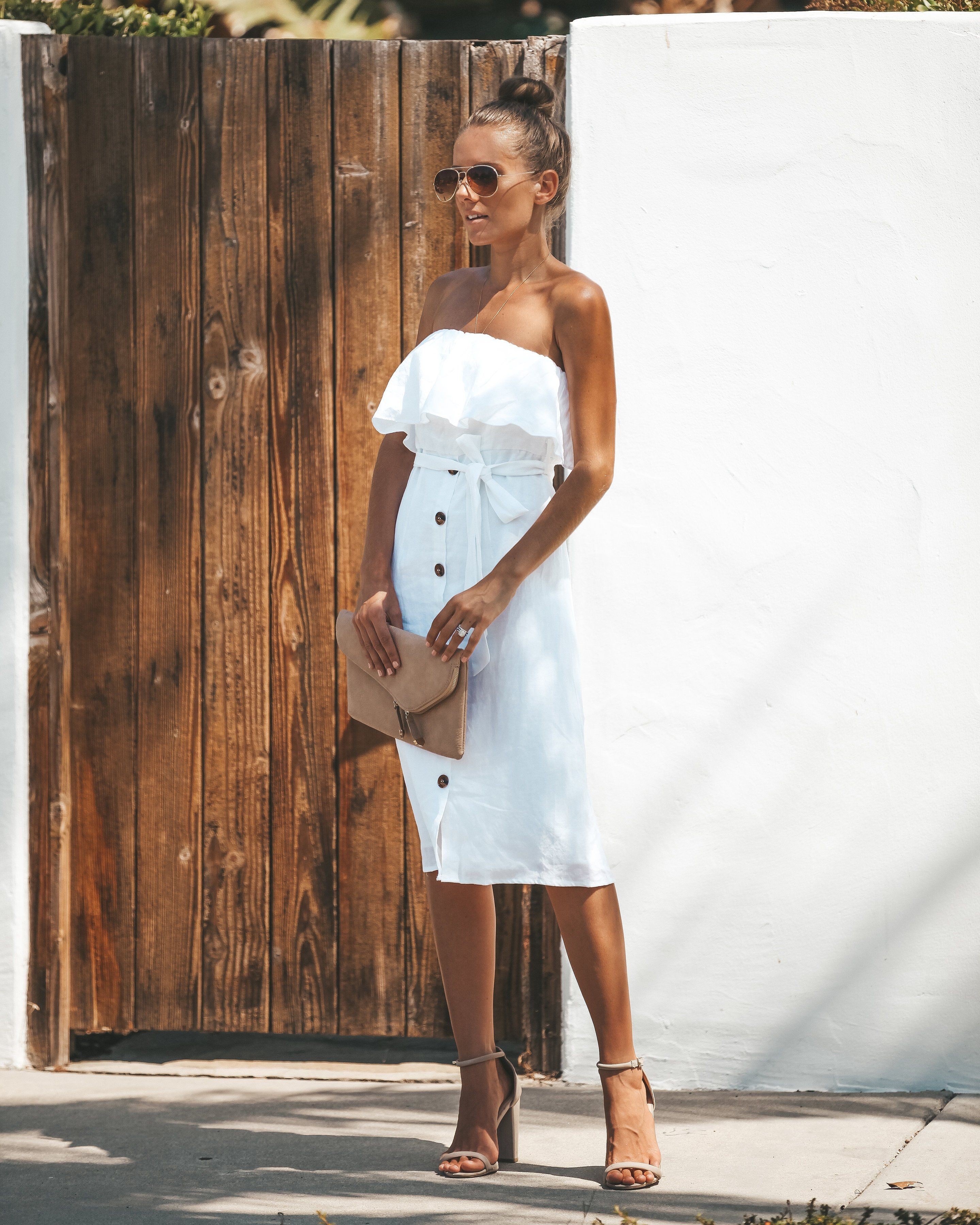 Simply irresistible button down strapless linen dress white