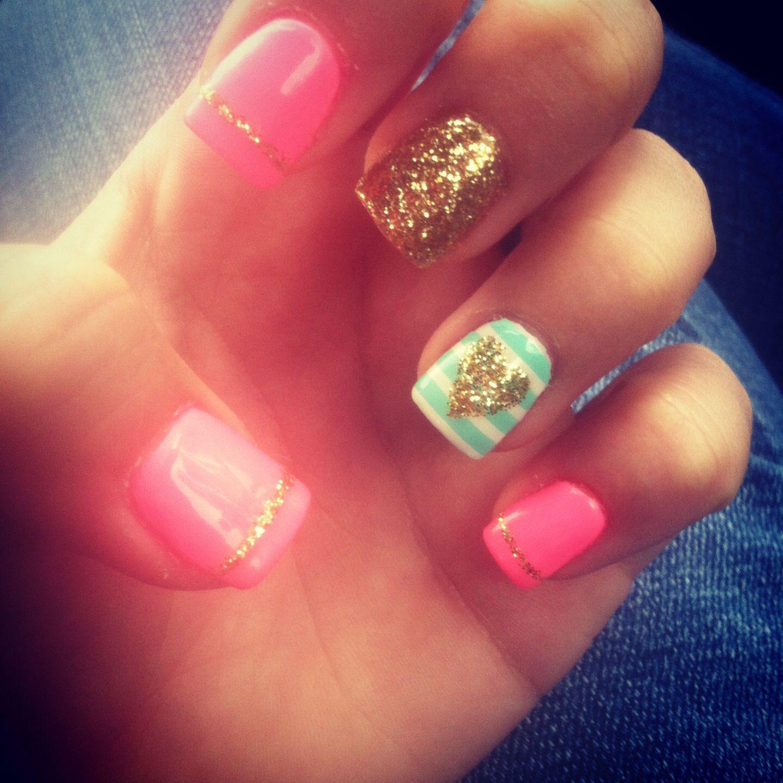 Cute nails! #nails #cute #gold #pink #mint