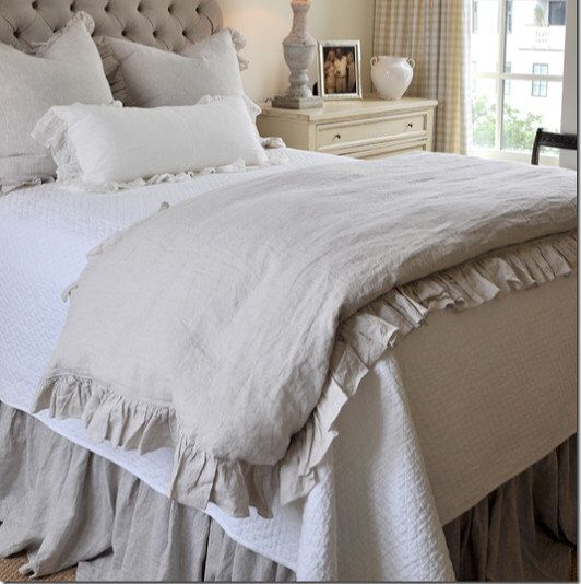 ruffle linen duvet cover features easy flow ruffles shabby chic bedding linen bedding. Black Bedroom Furniture Sets. Home Design Ideas