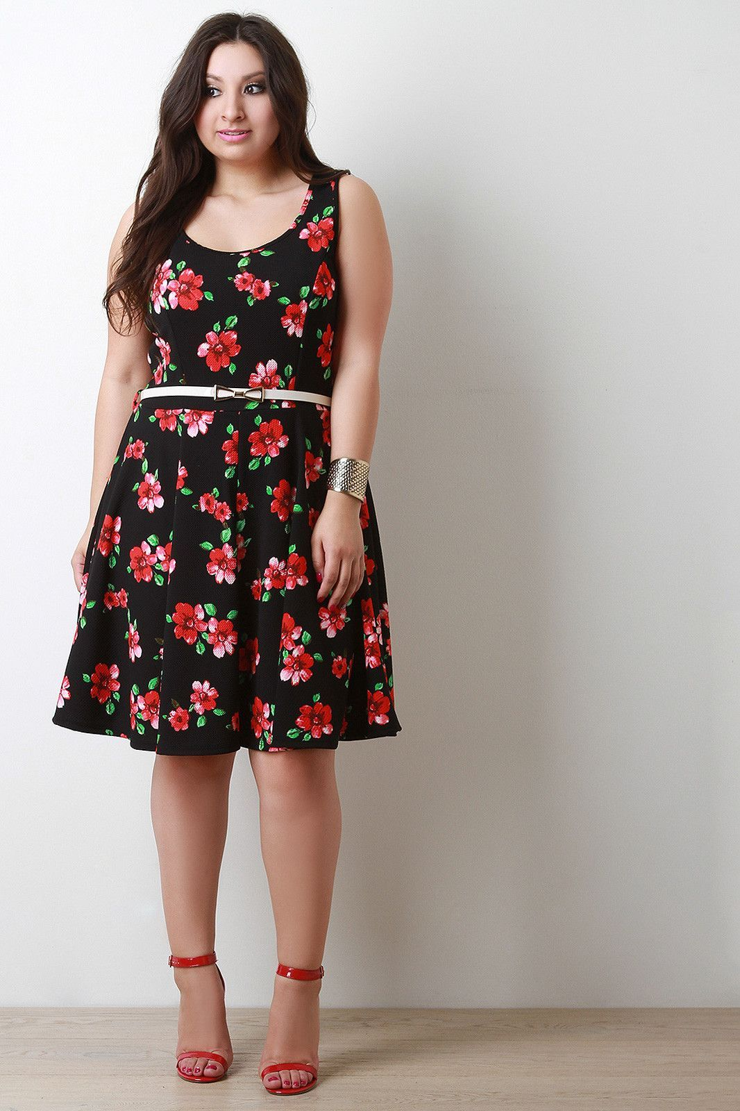 Floral scoop neck sleeveless belted fit and flare dress products