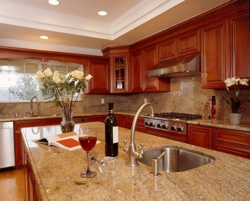 Brown Granite Kitchen Requires Ample Lighting Granite