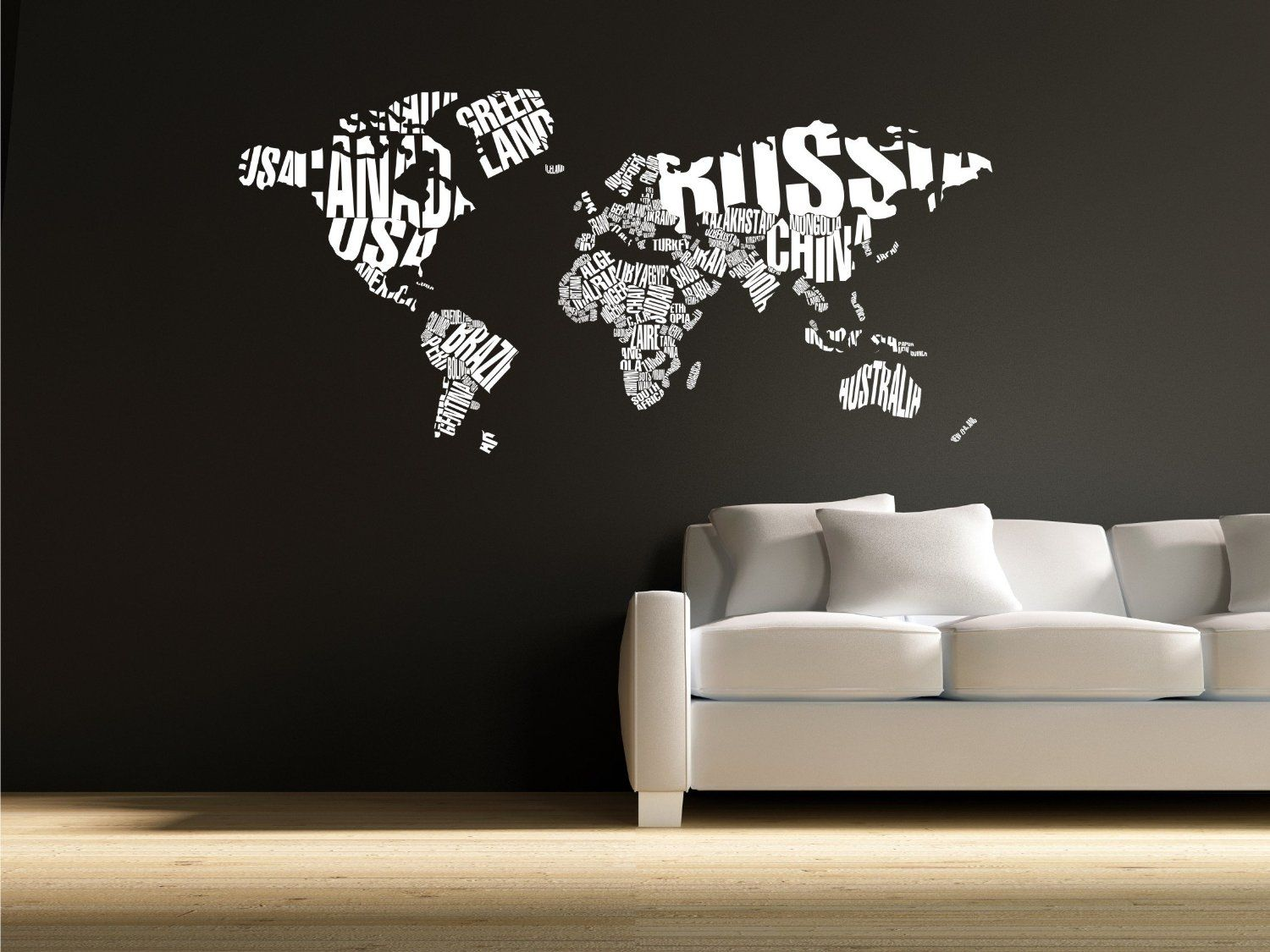 World Map In Typography Wall Decal Stickers By The Custom Vinyl - Custom vinyl wall decals christmas