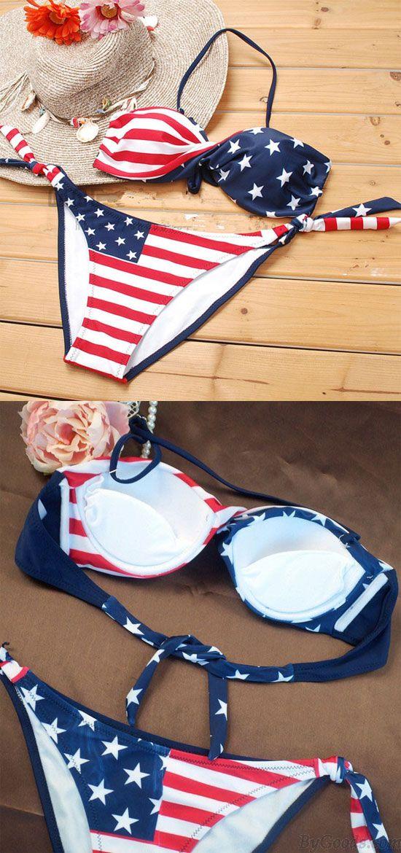 f8afd385a5e New Sexy American Flag Stripes Bikini for big sale ! #flag #sexy #america # swimsuit #bikini
