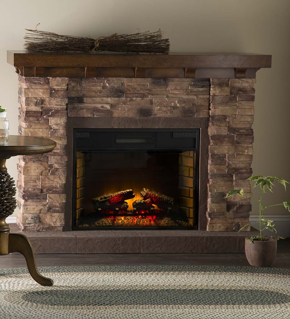 "LARGEST ONE- ADD WOOD FRAME SURROUND & BOOKCASES $999.95 Quartz Infrared Stone Fireplace 56""W x 18""D x 43""H"
