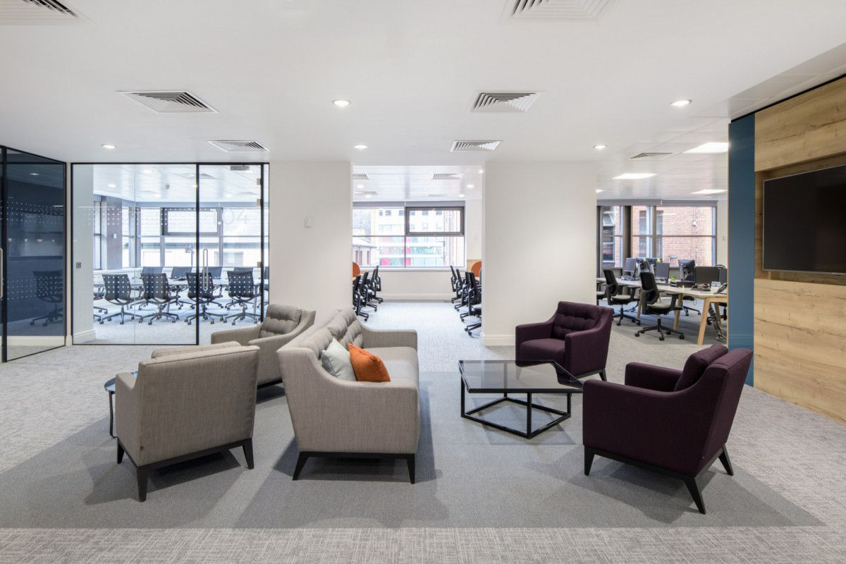 Office Tour Interactive Investor Offices Manchester Commercial Interior Design Office Design Modular Lounges